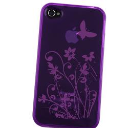 INSTEN Clear Dark Purple Flower TPU Rubber Phone Case Cover for Apple iPhone 4/ 4S
