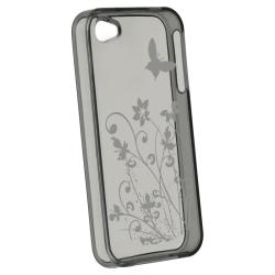 BasAcc Clear Smoke Flower TPU Protective Rubber Case for Apple iPhone 4/4S - Thumbnail 1