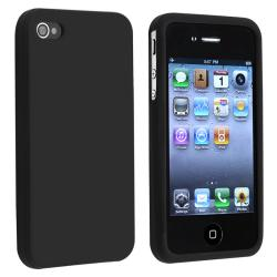 INSTEN Black Soft Silicone Skin Phone Case Cover for Apple iPhone 4/ 4S
