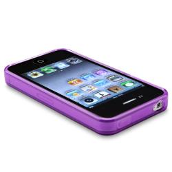 BasAcc Clear Frost Purple TPU Rubber Skin Case for Apple iPhone 4/ 4S - Thumbnail 2