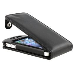 INSTEN Black Leather Phone Case Cover for Apple iPhone 4/ 4S - Thumbnail 1