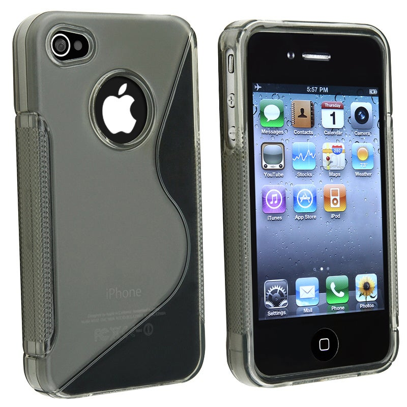 BasAcc Clear Smoke S Shape TPU Rubber Skin Case for Apple iPhone 4/ 4S