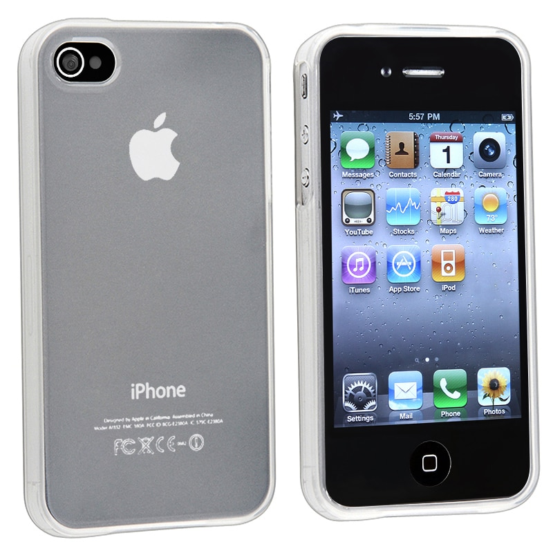 INSTEN Clear Frost White TPU Rubber Skin Phone Case Cover for Apple iPhone 4/ 4S