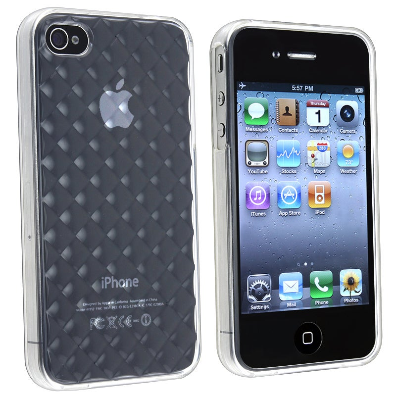 BasAcc Clear White Diamond TPU Rubber Skin Case for Apple iPhone 4/ 4S