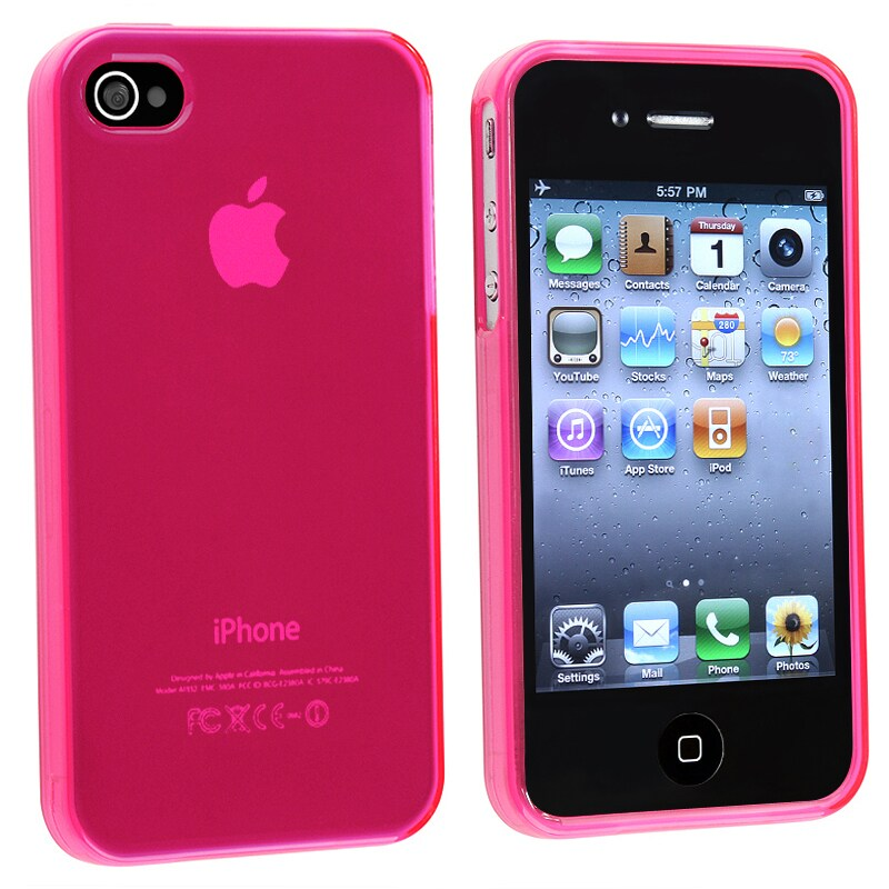 INSTEN Clear Frost Hot Pink TPU Rubber Phone Case Cover for Apple iPhone 4/ 4S