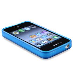 INSTEN Clear Frost Dark Blue TPU Rubber Phone Case Cover for Apple iPhone 4/ 4S