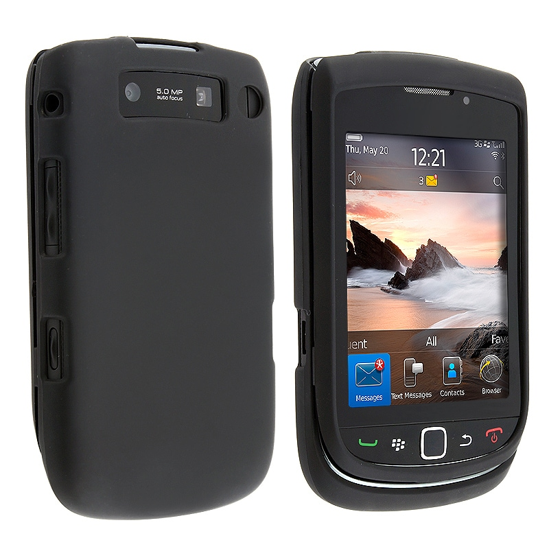 INSTEN Black Snap-On TPU-Rubber-Coated Phone Case Cover for BlackBerry Torch 9800