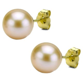 DaVonna 14k Gold Pink Perfect Round Akoya Pearl Stud Earrings (7 mm )