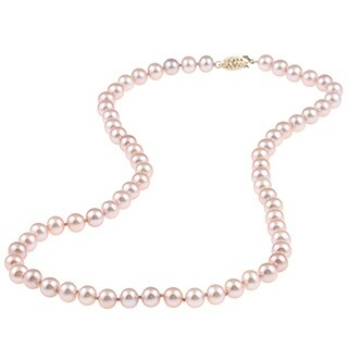 DaVonna 14k Yellow Gold 6-7mm Pink Freshwater Pearl Necklace