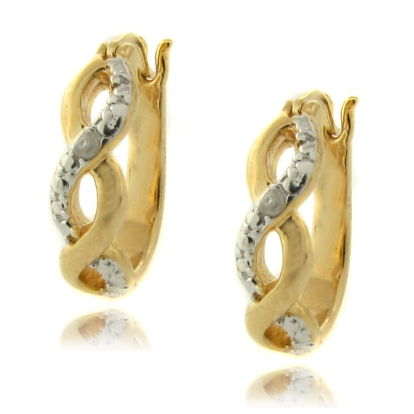 14k Gold over Silver Diamond Accent Infinity Design Hoop Earrings
