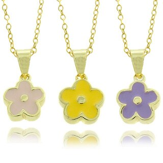 Molly and Emma 14k Gold Overlay Children's Enamel Flower Necklace