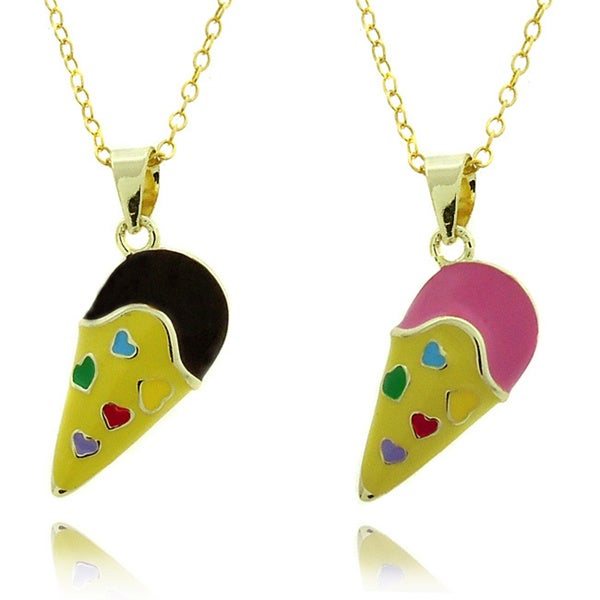 Molly and Emma 14k Gold Overlay Children's Enamel Ice Cream Cone Necklace
