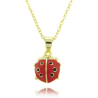 Molly and Emma 14k Gold Overlay Children's Enamel Ladybug Necklace