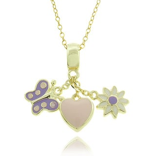 Molly and Emma 14k Gold Overlay Children's Enamel Charm Necklace