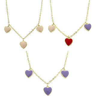 Molly and Emma 14k Gold Overlay Children's Enamel Hearts Dangle Necklace (3 options available)