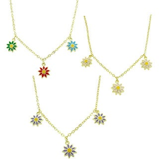 Molly and Emma 14k Gold Overlay Children's Enamel Flower Dangle Necklace