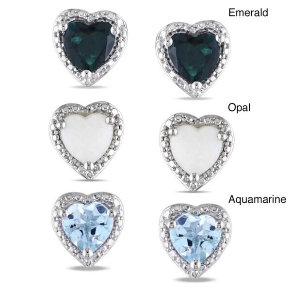 Miadora Sterling Silver Heart-shaped Gemstone Stud Earrings