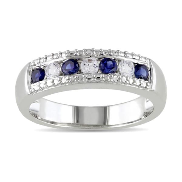 Miadora Sterling Silver Multi-gemstone Fashion Ring