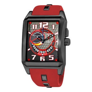 Stuhrling Original Men's Mad Man Complex Red Rubber Strap Swiss Quartz Alarm Watch