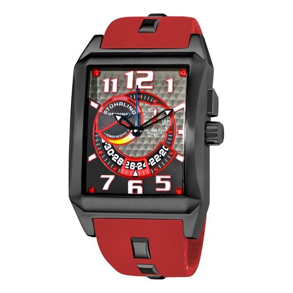 Stuhrling Original Men's Mad Man Complex Red Rubber Strap Swiss Quartz Alarm Watch