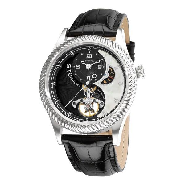 Stuhrling Original Men's 'Enigma' Automatic Black Leather Strap Watch