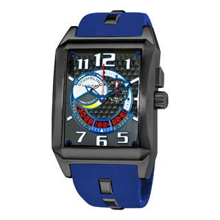 Stuhrling Original Men's 'Mad Man Complex' Blue Rubber Strap Watch
