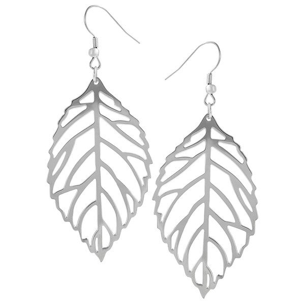 Journee Collection  Stainless Steel Cut-out Leaf Dangle Earrings