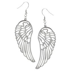 Journee Collection Stainless Steel Cut-out Wing Dangle Earrings