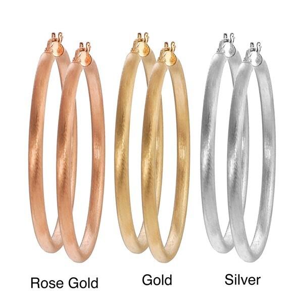 Journee Goldplated Italian Hoop Earrings