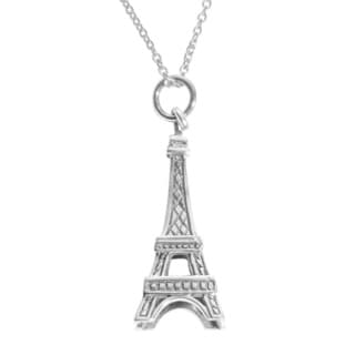 Journee Sterling Silver Eiffel Tower Necklace