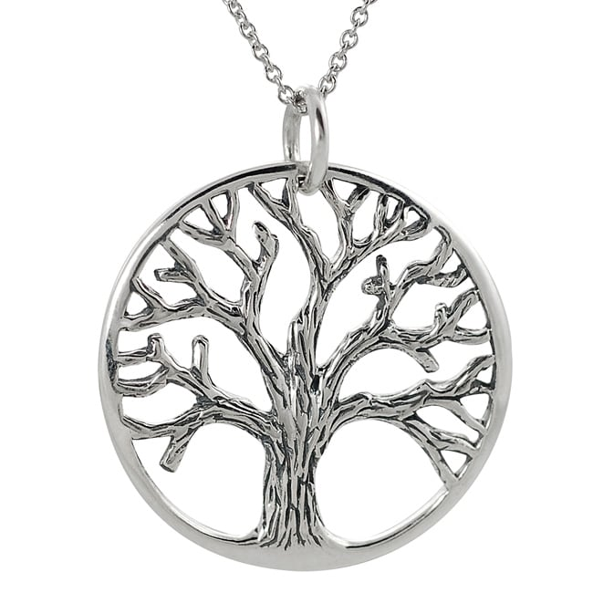 Journee Sterling Silver Cut-out Tree of Life Necklace
