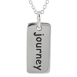 Journee Collection  Sterling Silver 'Journey' Tag Necklace