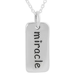 Journee Collection  Sterling Silver 'Miracle' Tag Necklace