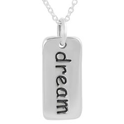 Journee Collection  Sterling Silver 'Dream' Tag Necklace