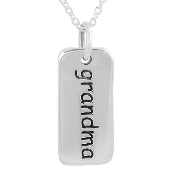 Journee Sterling Silver 'Grandma' Tag Necklace