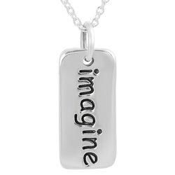 Journee Collection  Sterling Silver 'Imagine' Tag Necklace