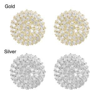 Journee Silver Pave-set Cubic Zirconia Disk Earrings