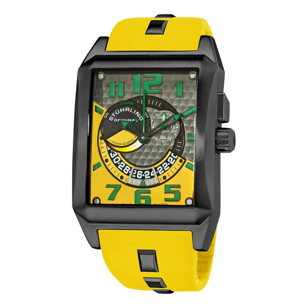 Stuhrling Original Men's 'Mad Man Complex' Yellow Rubber Strap Watch