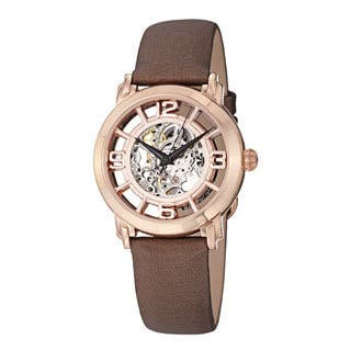 Stuhrling Original Women's 'Winchester' Automatic Brown Satin Leather Strap Watch|https://ak1.ostkcdn.com/images/products/6668606/P14226821.jpg?impolicy=medium