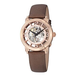 Stuhrling Original Women's 'Winchester' Automatic Brown Satin Leather Strap Watch