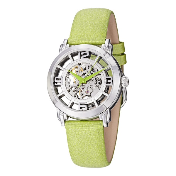 Stuhrling Original Women's 'Winchester' Automatic Green Satin Leather Strap Watch