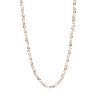 Pearlyta 14k Gold Colored Freshwater Pearl Necklace and Earring Jewelry Set (6-7 mm)
