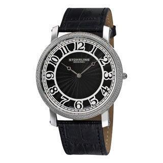 Stuhrling Original Men's 'Hyperion' Swiss Quartz Black Leather Strap Watch