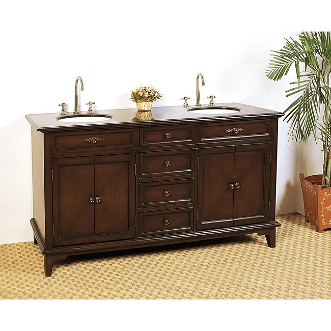 Granite Top 69 Inch Double Sink Bathroom Vanity Black White Overstock 6668623