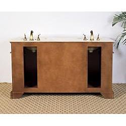 Marble Top 61-inch Double Sink Bathroom Vanity