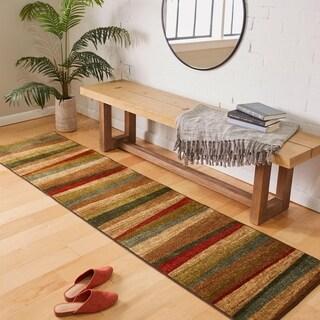 Mohawk Home New Wave Mayan Sunset Sierra Red/Beige/Brown Nylon Striped Runner Rug - 2' x 8'