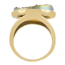Fremada Gold over Sterling Silver Round Druzy Ring