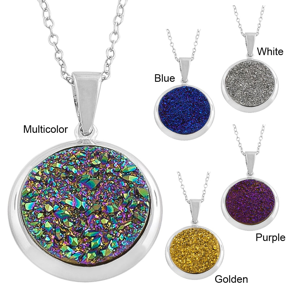 Rhodiumplated Sterling Silver Round Druzy Necklace