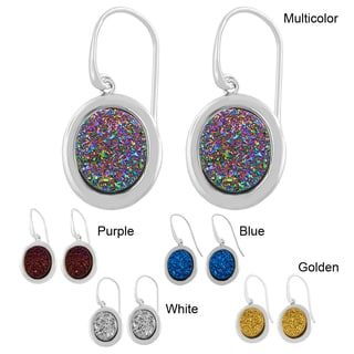 Fremada Rhodium-plated Sterling Silver Oval Druzy Dangle Earrings