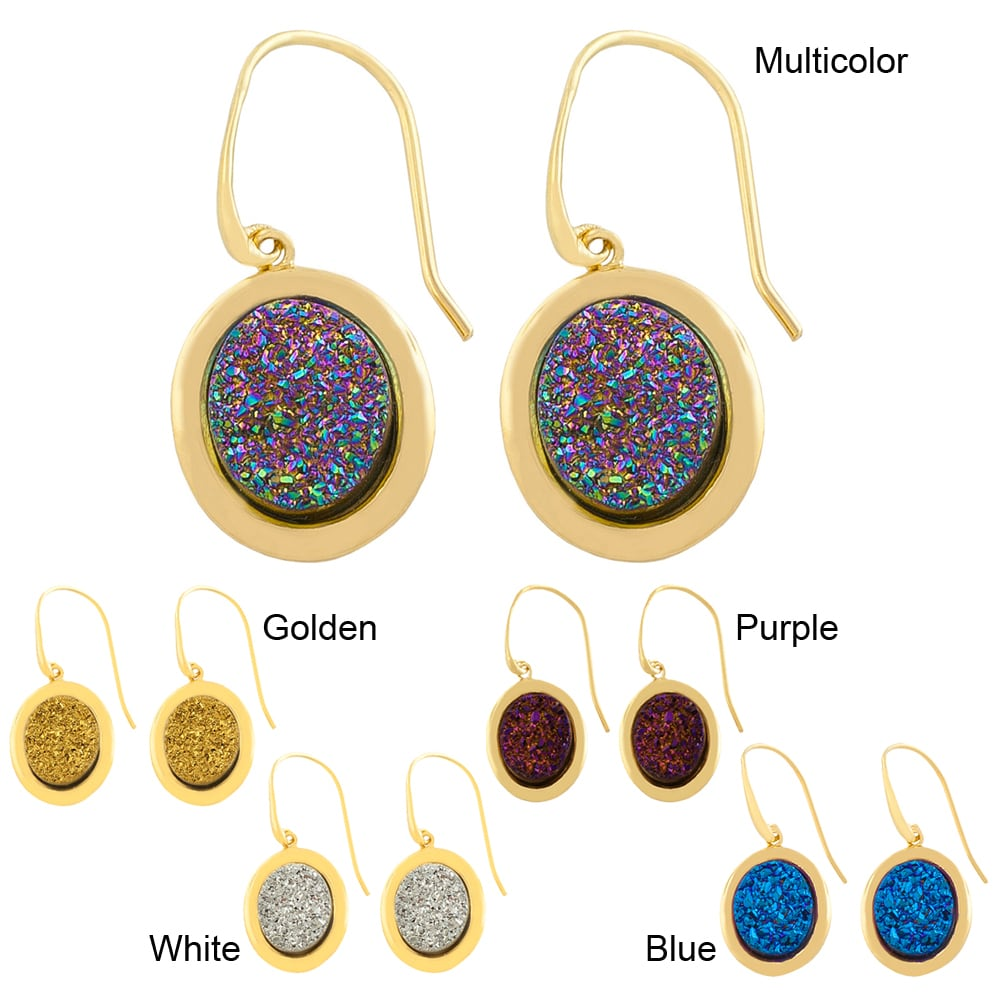 Fremada Gold over Sterling Silver Oval Druzy Dangle Earrings
